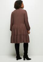 MILLA - Peached woven piecrust tiered mini dress - brown