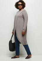 edit Plus - Longline wrap front tee - taupe