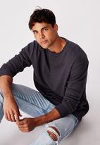 Cotton On - Waffle long sleeve T-shirt - late night blue