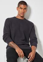 Superbalist - Chevron textured regular fit knit - dark grey