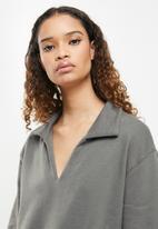 Cotton On - Kora collared long sleeve pullover - ash grey