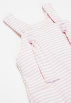 Little Lumps - Knotted dungarees  - pink & white