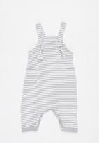 Little Lumps - Knotted dungarees  - grey & white