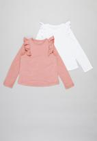 POP CANDY - Girls 2 pack frill detail tops - pink & white