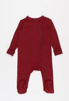 Baby Star - Zip closure babygrow - burgundy