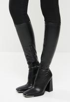 Public Desire - Caryn knee high heeled boot - black