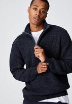 Cotton On - Quarter zip knit - denim marle