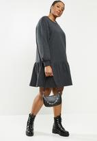 Blake - Fleece drop waist mini dress - charcoal