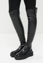 Public Desire - Charly chunky sole over the knee boot - black