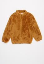 Baby Star - Fluffy zip through jacket - brown