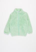Baby Star - Fluffy zip through jacket - mint