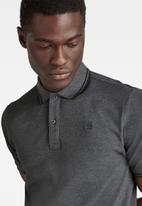 G-Star RAW - Dunda slim stripe short sleeve polo - charcoal