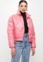 Missguided - Diamond quilted padded bomber - rose