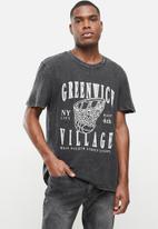 Factorie - Regular graphic T-shirt - black