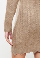 Missguided - Petite frill neck mini cable dress - stone