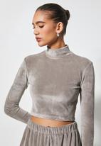 VELVET - Plush velvet cropped long sleeve turtle top - taupe