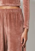 VELVET - Pull-on wide leg trouser - rose