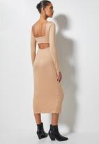 VELVET - Cut out back column midi dress - beige