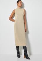 Superbalist - Organic cotton sleeveless knitwear dress - sand