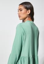 Superbalist - Ribbed funnel neck tiered dress - deep sage