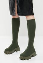 Public Desire - Future knit chunky sole knee high boot - khaki