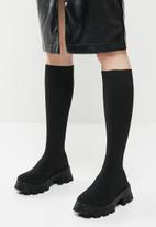 Public Desire - Future knit chunky sole knee high boots - black