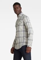 G-Star RAW - Marine service slim shirt long sleeve - white & black