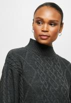 edit - Cable stitch balloon sleeve tunic - charcoal