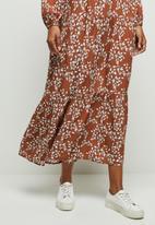 edit - Wide hem gyspy maxi dress - rust & white