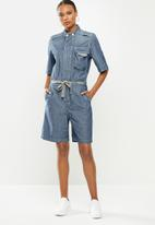 G-Star RAW - Short sleeve workwear playsuit - antic faded aegean blue painted