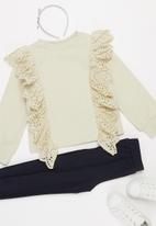 Superbalist Kids - Younger girls anglaise frill detail sweat top - cream