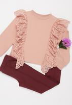 Superbalist Kids - Younger girls anglaise frill detail sweat top - misty rose