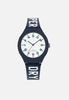 Superdry. - Printed silicone strap watch - blue