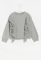 Superbalist Kids - Younger girls anglaise frill detail sweat top - light grey