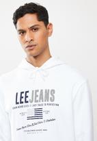 Lee  - Faded denim hooded sweat - white
