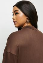 MILLA - Brushed knit dropped shoulder maxi dress - brown
