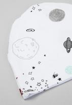 Baby Star - Space sleepsuit & beanie set - white