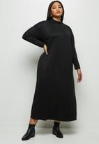 MILLA - Brushed knit dropped shoulder maxi dress - black