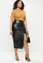 Missguided - Plus croc midaxi skirt - black