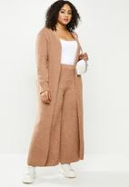 Missguided - Plus popcorn maxi cardigan co ord - brown