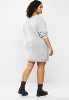 Missguided - Plus v neck ribbed dress - grey
