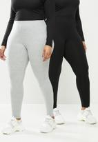 Missguided - Plus size jersey 2 pack legging - black & grey
