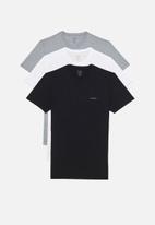 Diesel  - Jake crew neck 3 pack tees - black, white & grey
