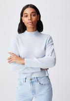 Cotton On - Wool crew neck pullover - sunfaded denim