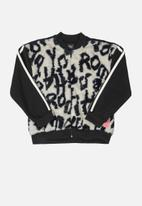 Gloss - Girls sweat jacket with faux fur - black