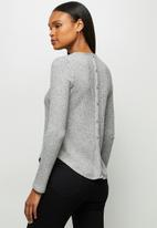 edit - Long sleeve crew neck longline tee - light grey