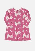 Bee Loop - Baby girls heart dress - pink & white