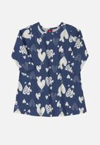 Bee Loop - Baby girls heart dress - dark blue & white