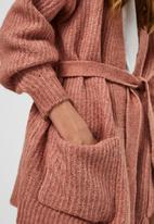 Vero Moda - Julie  long sleeve belt cardigan - old rose