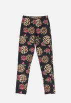 Quimby - Girls roses & animal print legging - black